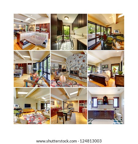 Collage of modern classic beautiful home interior. Bedroom, kitchen, fireplace, dining room, laundry, living room. Nine images in one.