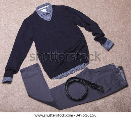 Collage of modern men's clothing  - stock photo