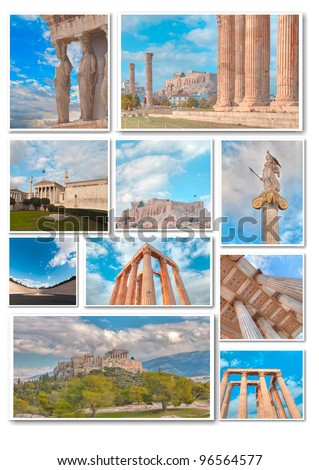 Collage of monuments in Athens - stock photo