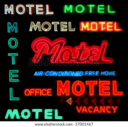 Collage of motel neon signs isolated on black background - stock photo