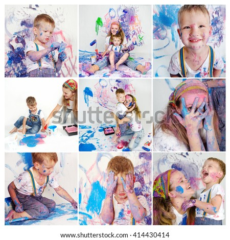 Collage of mother and son paint the walls. Child himself dirty in the paint and looks into the camera. Child has fun and stain the wall. Children's creativity. Art for baby. - stock photo