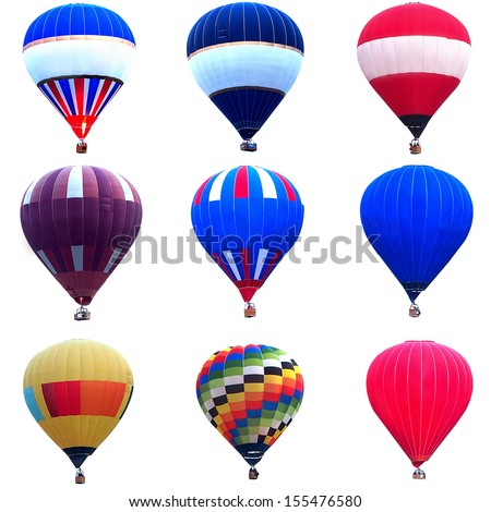 Collage of multicolored hot air balloons - stock photo