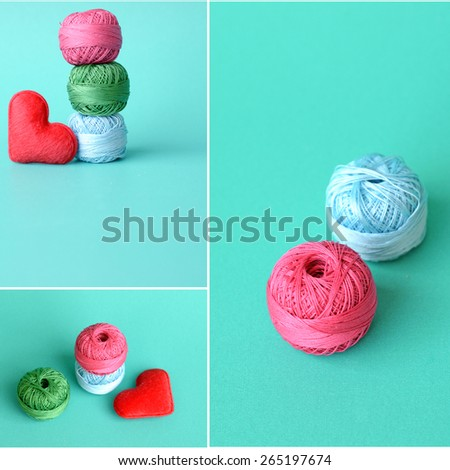 Collage of multicolored skeins of thread - stock photo