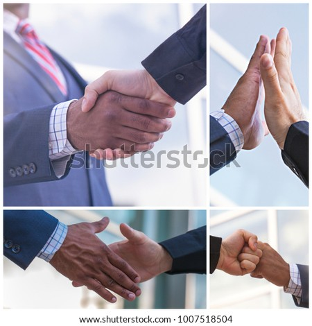 Collage of multiethnic business partners shaking hands for greeting or partnership