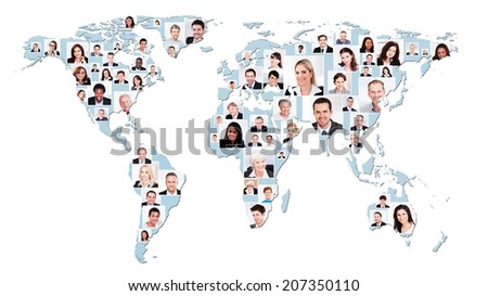 Collage of multiethnic business people on world map representing global business.  - stock photo