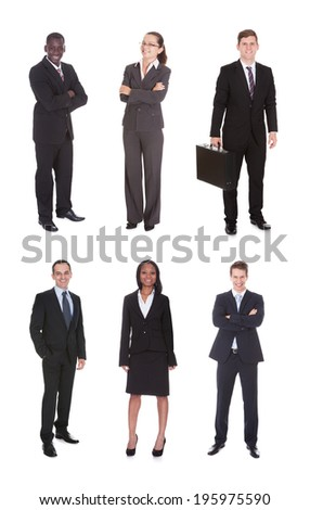 Collage of multiethnic business team standing over white background