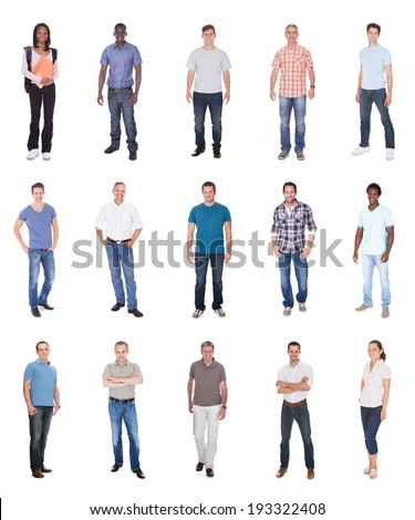 Collage of multiethnic people in casuals over white background - stock photo