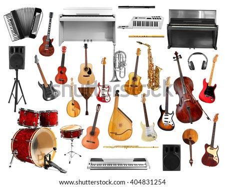 Collage of musical instruments isolated on white - stock photo