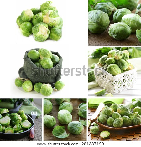 collage of natural organic green brussels sprouts - stock photo