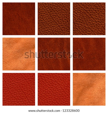 Collage of nine brown leather texture - stock photo