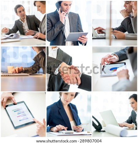 Collage of nine images of different businesspeople in the office in meetings, talking on a mobile, handshake, and using assorted digital technology. - stock photo