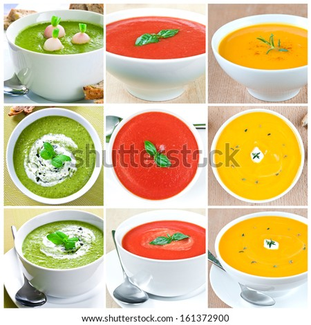 Collage of nine images with selection of vegetable soups - stock photo