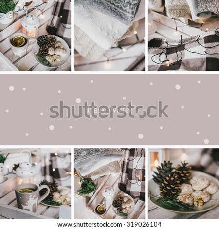 collage of nine photos with Christmas items - stock photo