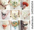 Collage of nine wedding photos with bouquets - stock photo