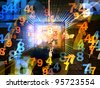 Collage of numbers, lights and various abstract elements on the subject of computer science and digital technologies - stock photo