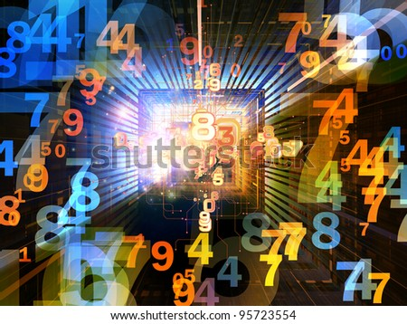 Collage of numbers, lights and various abstract elements on the subject of computer science and digital technologies