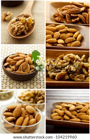 Collage of Nuts (Almonds, Walnuts, Pecans) - stock photo