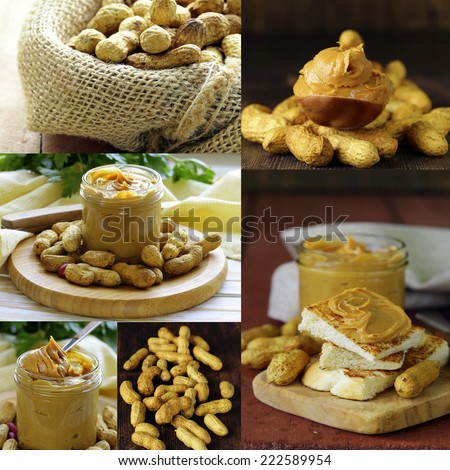 Collage of nuts and peanut butter in a pot. - stock photo