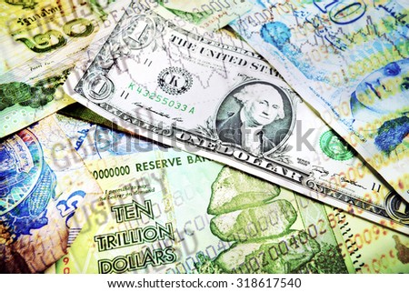 Collage of of various money and market numbers vibrant color - stock photo