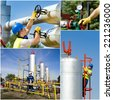 Collage of oil and gas industry worker on plant - stock photo