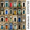 Collage of old and colorful doors from Edinburgh, Scotland - stock photo
