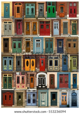 Collage of old and colorful doors  from Quebec, Canada