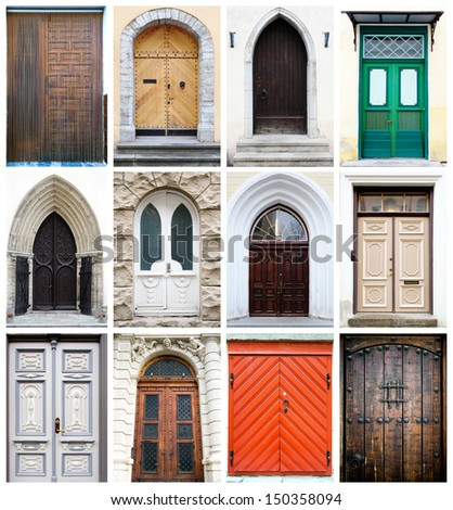 Collage of old-fashioned multicolored doors  - stock photo