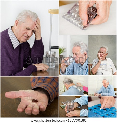 Collage of old man with pain and medicals - stock photo