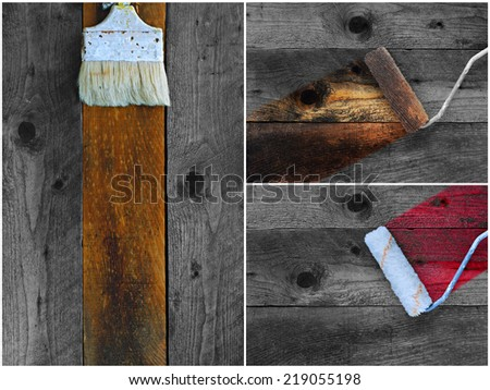 Collage of old paintbrushes staining timber boards in different colors - stock photo