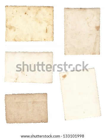 Collage of old paper isolated on a white background. - stock photo