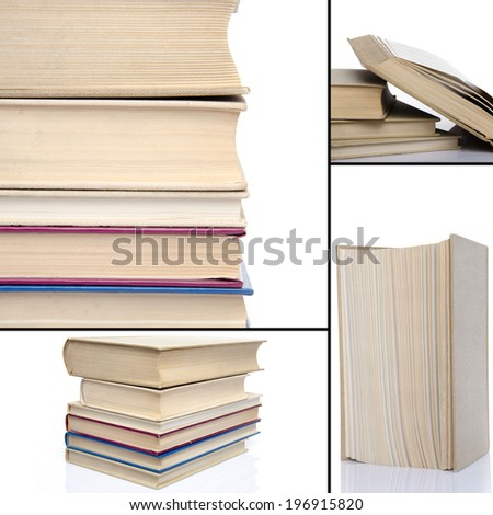 Collage of opened and stacked books, isolated on white