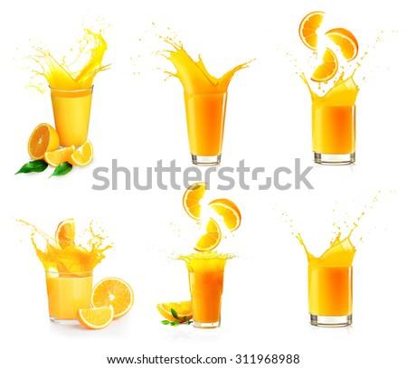 Collage of orange juice splashes isolated on white - stock photo