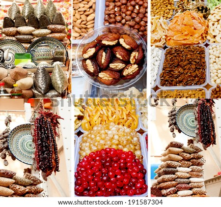 Collage of oriental sweets on market.  - stock photo