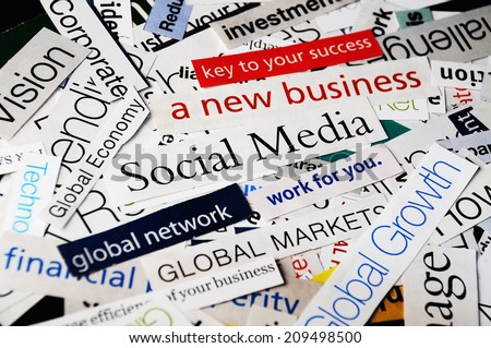 collage of paper headlines about the global   economy and social media business - stock photo