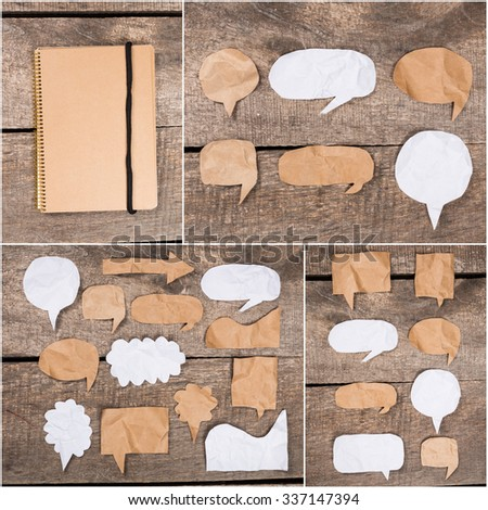 Collage of paper speech bubbles - stock photo