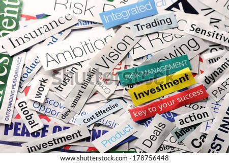 collage of papernews headlines about the world economy  - stock photo