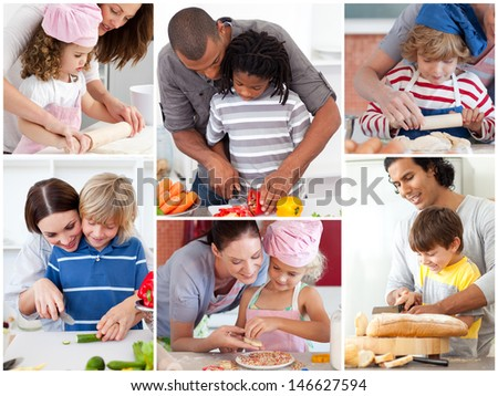 Collage of parents with their children preparing pastry - stock photo