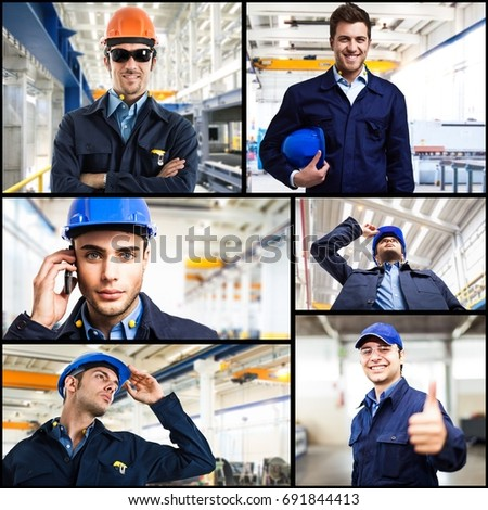 Collage of people at work in a factory