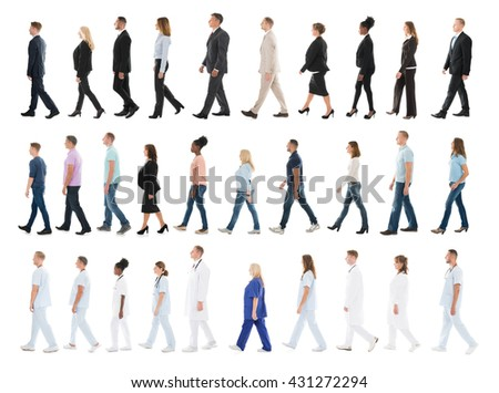 Collage Of People From Different Occupations Walking In Line Against White Background