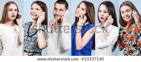 Collage of people speak on the phone - stock photo
