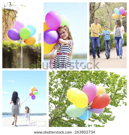 Collage of people with balloons