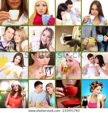 Collage of people with different drinks