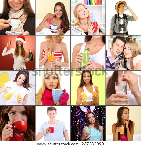 Collage of people with different drinks - stock photo