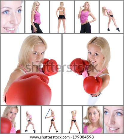 Collage of Photo of young sporty woman exercising with expander and box
