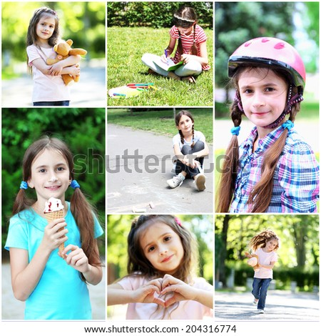 Collage of photo with children playing at park - stock photo