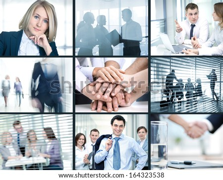 Collage of photo young people working together in business - stock photo