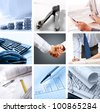collage of photographs on the subject of a successful business - stock photo