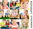 collage of photographs on the subject of education. schoolchildren are trained - stock photo