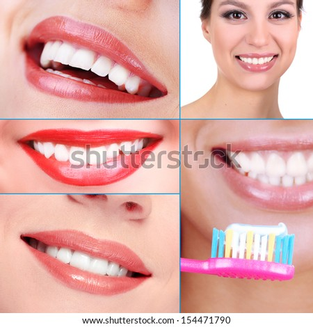 Collage of photographs on the theme of healthy teeth