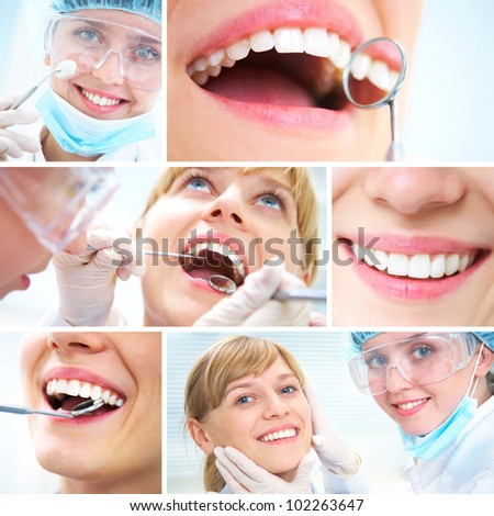 collage of photographs on the theme of healthy teeth and Dental doctor